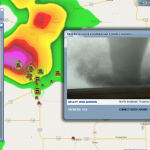 Screenshot from live video feed of pic Tornado chase day!