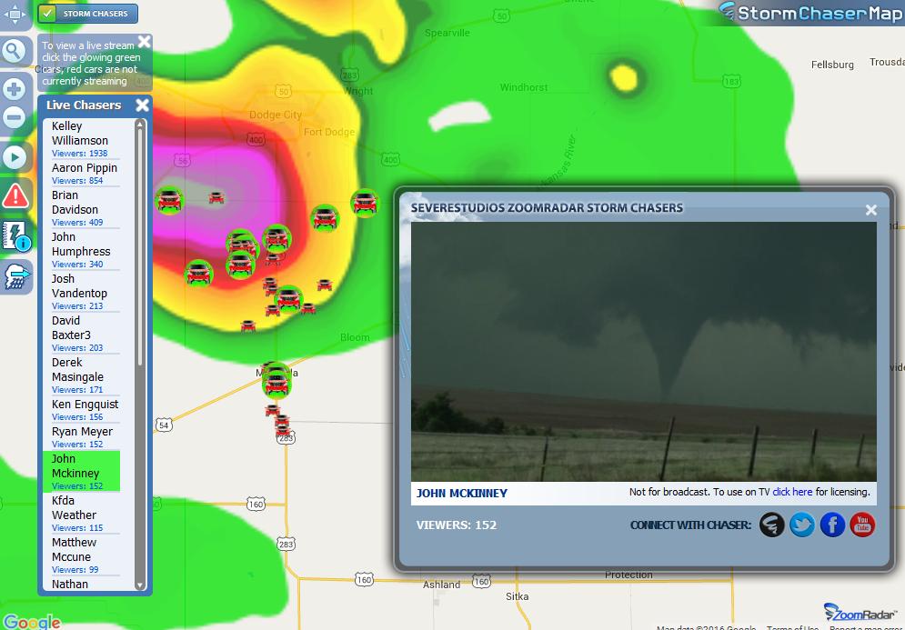 ZoomRadar: Live Storm Chaser Map: Radar For Your Website!